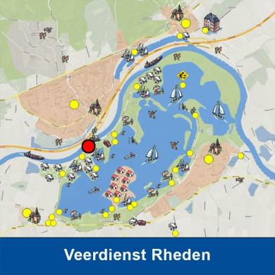 Tussen het Rhederlaag en het dorp Rheden vaart in het zomerseizoen het voetveer: WUTA. KLIK OP DE AFBEELDING voor meer informatie.