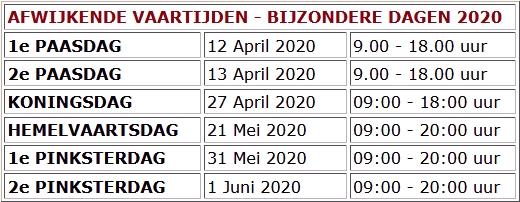 Afwijkende vaartijden 2020 versie 11mei2020