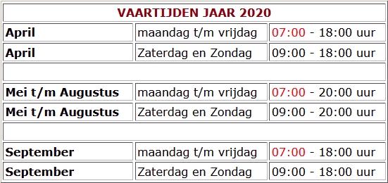 Vaartijden 2020 versie 11 mei 2020